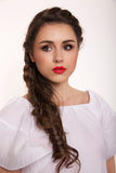 Portrait of woman with hair style. Portrait of brunet woman with hair style braids Royalty Free Stock Photos