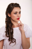 Portrait of woman with hair style. Portrait of brunet woman with hair style braids Stock Photos