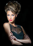 Portrait of the woman with the hairstyle Royalty Free Stock Images