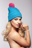 Portrait woman in hat. royalty free stock photography