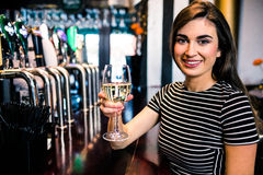 Portrait of woman having a glass of wine Royalty Free Stock Image
