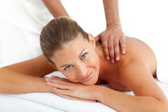 Portrait of woman having a massage Royalty Free Stock Photography