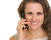 Portrait of woman having mobile phone call Stock Photography
