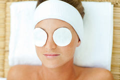 Portrait of a woman having a spa treatment. In a health center Royalty Free Stock Photography