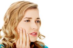 Portrait of woman having strong toothache Royalty Free Stock Images