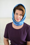 Portrait of a woman in  headscarf. Russian style. Stock Photography