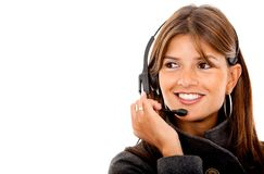 Portrait of a woman with headset Stock Photos