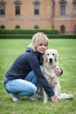 Portrait of woman with her dog Royalty Free Stock Photos