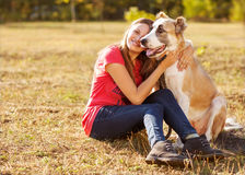 Portrait of a woman with her dog Royalty Free Stock Photography