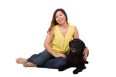 Portrait of a woman and her dog Stock Images