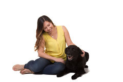 Portrait of a woman and her dog Stock Photo