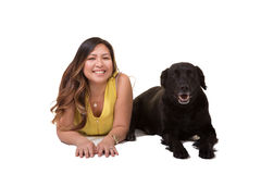 Portrait of a woman and her dog Royalty Free Stock Photo