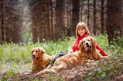 Portrait of a woman with her two  dogs Stock Photography