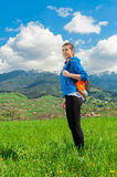 Portrait of woman hiking Stock Photo