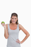 Portrait of a woman holding an apple Royalty Free Stock Image
