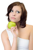 Portrait of woman holding apple Royalty Free Stock Images