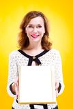 Portrait of woman holding chocolate box Royalty Free Stock Image