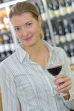 Portrait woman holding glass wine Royalty Free Stock Photo