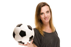 Portrait of a woman holding a soccer ball Stock Photo