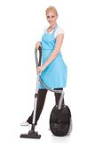 Portrait of woman holding vacuum cleaner Stock Images