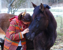 Portrait woman and horse in outdoor. Woman hugging Stock Photography