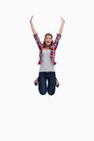 Portrait of a woman jumping Stock Image