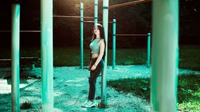 Portrait of woman in jungle gym Royalty Free Stock Image