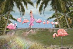 Woman with pink flamingos. A portrait of a woman in the jungle surrounded by pink flamingos vector illustration