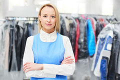Portrait of a woman Laundry worker. At the dry cleaners Royalty Free Stock Photo