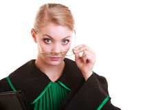 Portrait woman lawyer attorney in classic polish black green gown Royalty Free Stock Photo