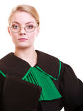 Portrait woman lawyer attorney in classic polish black green gown Royalty Free Stock Image