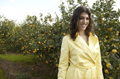 Portrait of Woman in Lemon Grove Stock Images