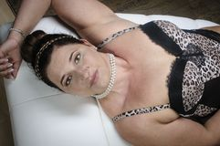 Portrait of a woman in leoprint bra Stock Photos