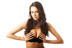 Portrait of a woman in lingerie touching breast Royalty Free Stock Photo