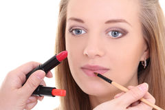 Portrait of woman with lipstick stock images