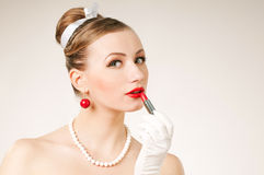 Portrait woman lipstick Royalty Free Stock Image