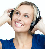 Portrait of a woman listening to music Royalty Free Stock Photos