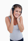 Portrait of a woman listening to music Stock Photos