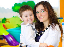 Portrait of woman and little boy Royalty Free Stock Image