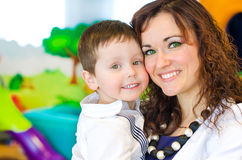 Portrait of woman and little boy Stock Photos