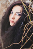 Portrait woman with long dark hairs Royalty Free Stock Photo