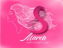 Portrait of a girl with long hair in a profile with the inscription 8 March Women`s Day. Portrait of a woman with long hair in a profile with the inscription 8 stock illustration