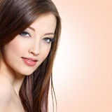 Portrait of  woman with long straight hair Stock Image