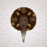 Portrait of a woman with luxuriant hair in the style of an African. Vector. Royalty Free Stock Photos