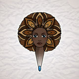 Portrait of a woman with luxuriant hair in the style of an African. Vector. Royalty Free Stock Photo