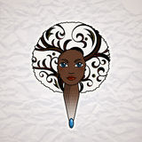 Portrait of a woman with luxuriant hair in the style of an African. Vector. Royalty Free Stock Images