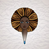 Portrait of a woman with luxuriant hair in the style of an African. Vector. Stock Image