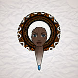 Portrait of a woman with luxuriant hair in the style of an African. Vector. Royalty Free Stock Photography