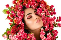 Portrait woman makeup face with red roses flower Royalty Free Stock Image