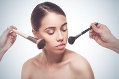 Portrait of the woman making make-up Stock Photos